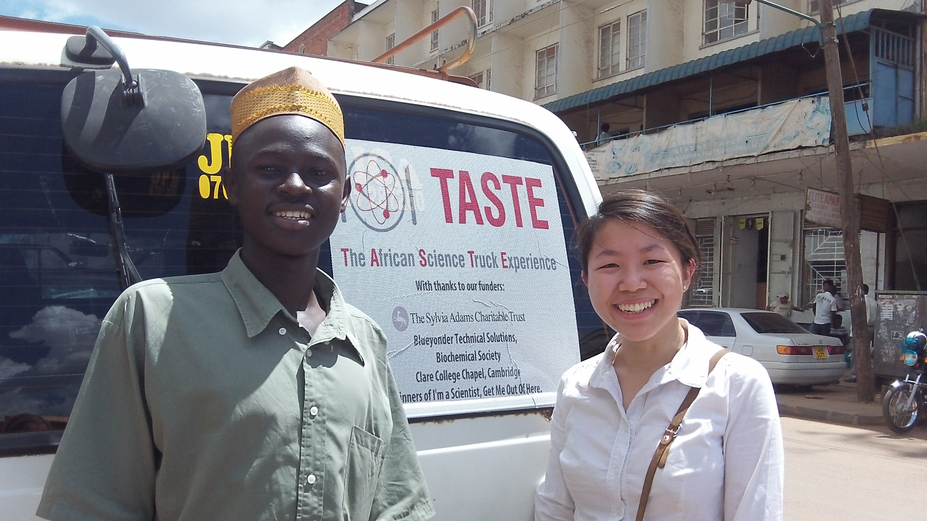 Obed and Lina with funders list